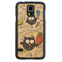 Owl with Meat Pattern Carved Maple Galaxy S5 Slim Case