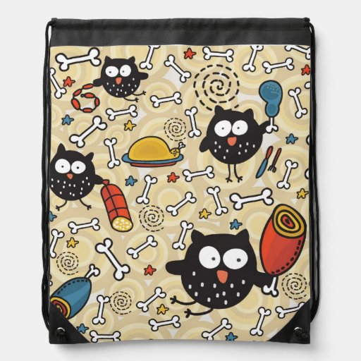 Owl with Meat Pattern Backpacks