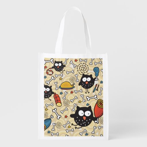 Owl with Meat Pattern Reusable Grocery Bag