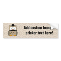 Owl with Mustache and Hat Bumper Sticker