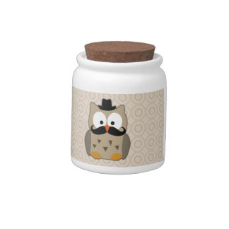Owl with Mustache and Hat Candy Jars