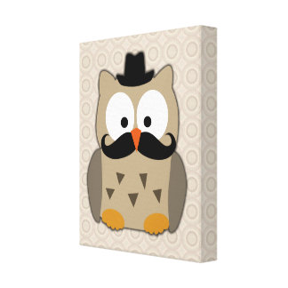 Owl with Mustache and Hat Canvas Print