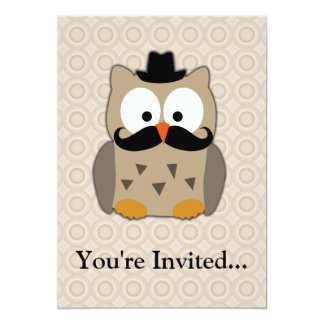 Owl with Mustache and Hat Card