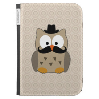 Owl with Mustache and Hat Kindle Case