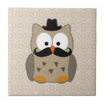Owl with Mustache and Hat Ceramic Tile