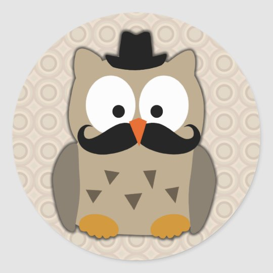 Owl with Mustache and Hat Classic Round Sticker