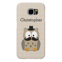 Owl with Mustache and Hat Cute Personalized Samsung Galaxy S6 Case
