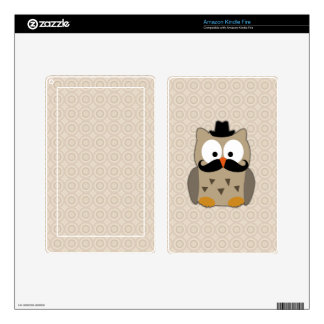 Owl with Mustache and Hat Decal For Kindle Fire