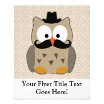 Owl with Mustache and Hat Flyer