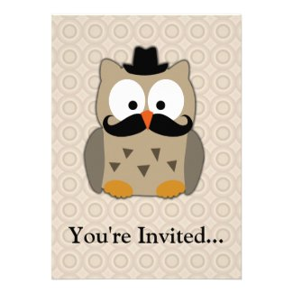 Owl with Mustache and Hat Invites