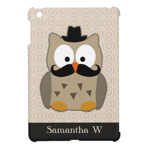Owl with Mustache and Hat iPad Mini Case