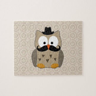 Owl with Mustache and Hat Jigsaw Puzzle