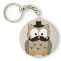 Owl with Mustache and Hat Keychain