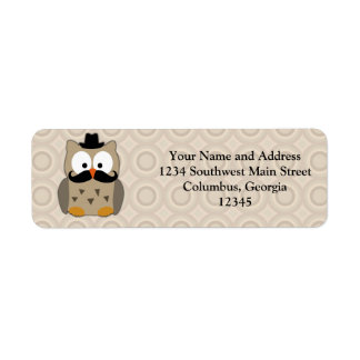 Owl with Mustache and Hat Label