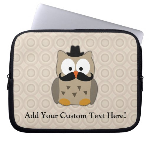 Owl with Mustache and Hat Computer Sleeve