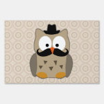 Owl with Mustache and Hat Lawn Signs