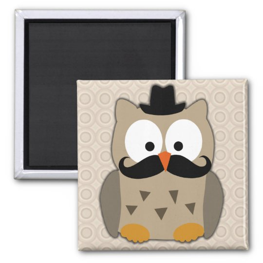 Owl with Mustache and Hat Magnet