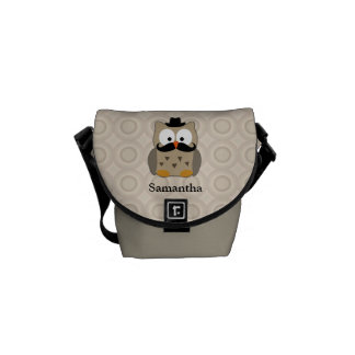 Owl with Mustache and Hat Messenger Bag