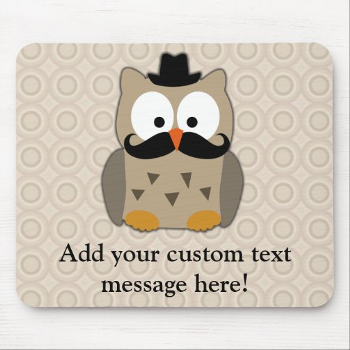 Owl with Mustache and Hat Mouse Pad