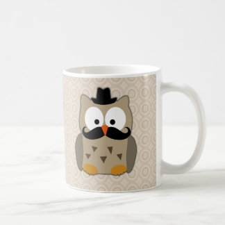 Owl with Mustache and Hat Classic White Coffee Mug
