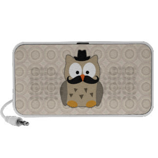 Owl with Mustache and Hat Notebook Speakers