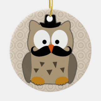 Owl with Mustache and Hat Christmas Ornaments