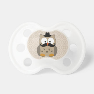 Owl with Mustache and Hat Baby Pacifier