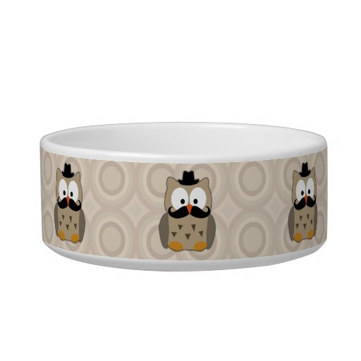 Owl with Mustache and Hat Pet Water Bowl
