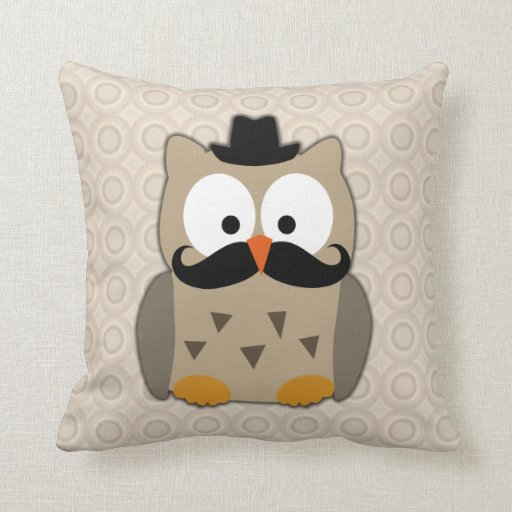 Owl with Mustache and Hat Pillows