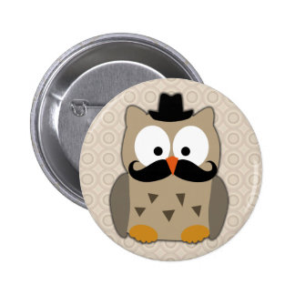 Owl with Mustache and Hat Pinback Button