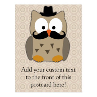 Owl with Mustache and Hat Postcard