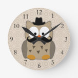 Owl with Mustache and Hat Round Wall Clocks