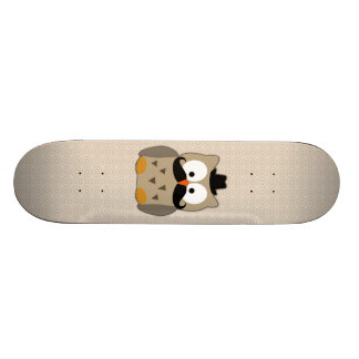 Owl with Mustache and Hat Skateboard Deck