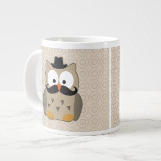 Owl with Mustache and Hat Jumbo Mug