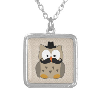 Owl with Mustache and Hat Square Pendant Necklace