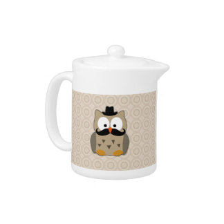 Owl with Mustache and Hat Teapot