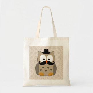 Owl with Mustache and Hat Tote Bag