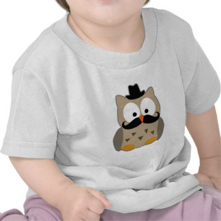 Owl with Mustache and Hat Tee Shirts