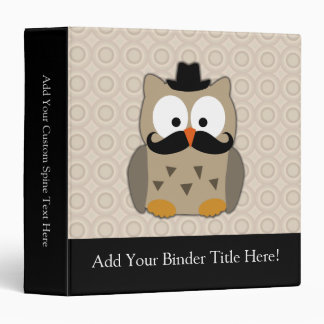 Owl with Mustache and Hat Vinyl Binder