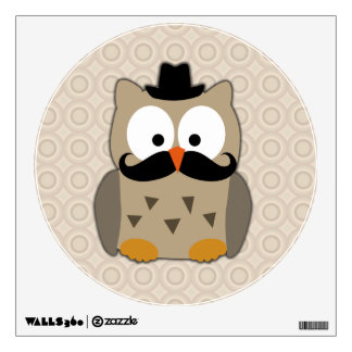 Owl with Mustache and Hat Wall Decal