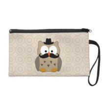 Owl with Mustache and Hat Wristlet Purse