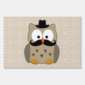 Owl with Mustache and Hat Yard Sign