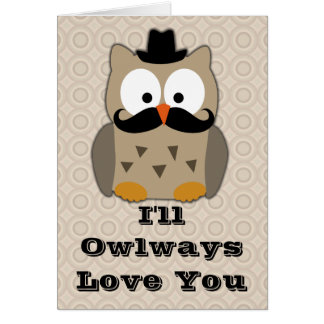 Owl with Mustache Valentine's Day Card