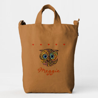 owl with name and hearts duck bag