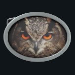 "Owl with Orange Eyes Custom Belt Buckle<br><div class=""desc"">Customizable Owl with Orange Eyes Belt Buckle. Photo courtesy of pixabay/designed by janet palaggi</div>"