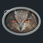 "Owl with Orange Eyes Custom Belt Buckle<br><div class=""desc"">Customizable Owl with Orange Eyes Belt Buckle. Photo courtesy of pixabay/designed by janet palaggi</div>"
