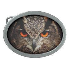 Owl with Orange Eyes Custom Belt Buckle