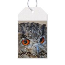 OWL WITH ORANGE EYES WRAPPING SUPPLIES GIFT TAGS
