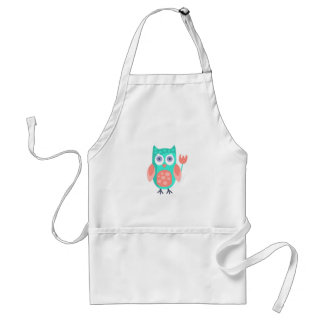 Owl With Party Attributes Girly Stylized Funky Adult Apron