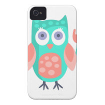 Owl With Party Attributes Girly Stylized Funky iPhone 4 Case-Mate Case